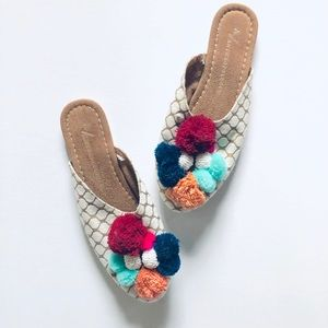 ANTHRO• Pom Pom Slide Slippers